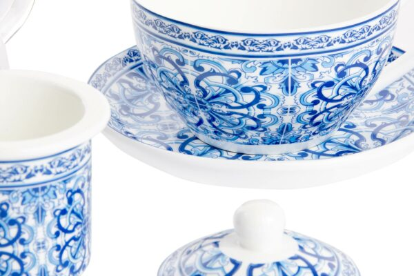 Set tetera cristal de porcelana blanca y dibujos arabes. Detalle
