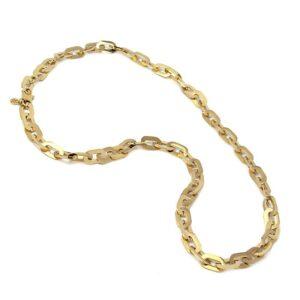 Collar de acero con cadena de eslabones planos
