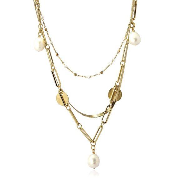 Triple gargantilla de acero con perla natural
