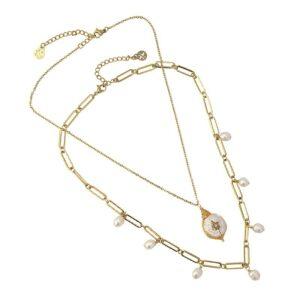 Doble gargantilla de acero con perlas naturales
