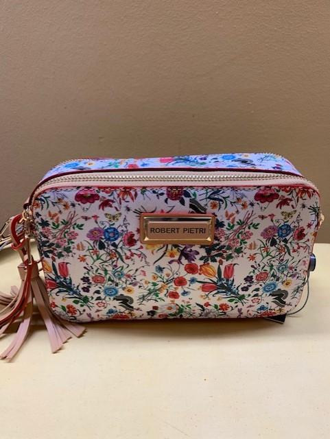 Bolso mini contenedor con print floral Robert Pietri. Vista frontal