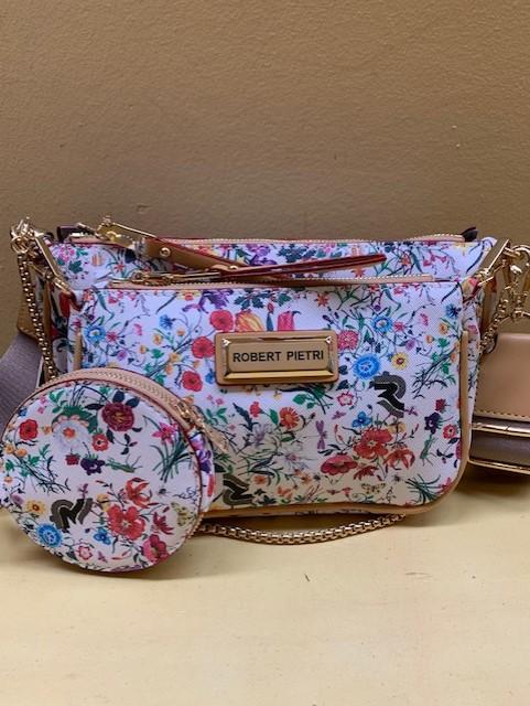 Doble mini bolso con print floral Robert Pietri. Conjunto