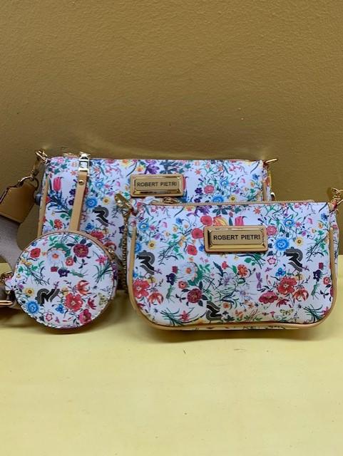 Doble mini bolso con print floral Robert Pietri. Vista por separado