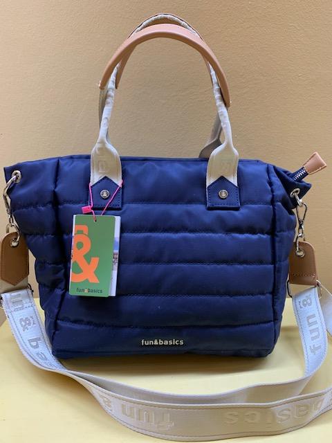 Bolso shopping en nylon acolchado Fun&Basic. Azul marino