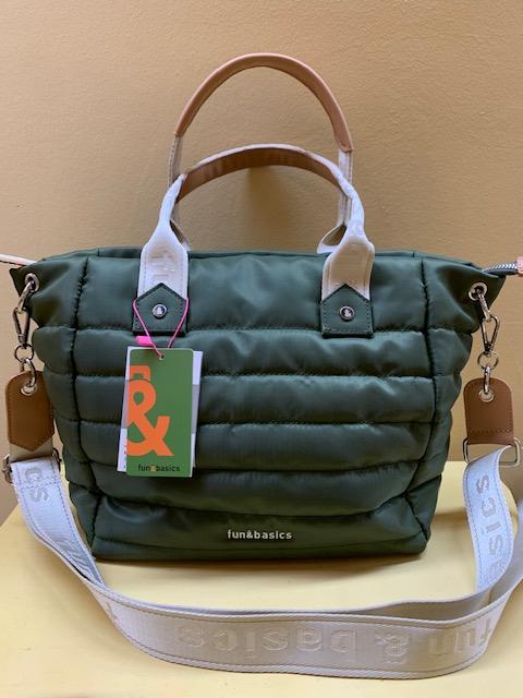 Bolso shopping en nylon acolchado Fun&Basic. Verde