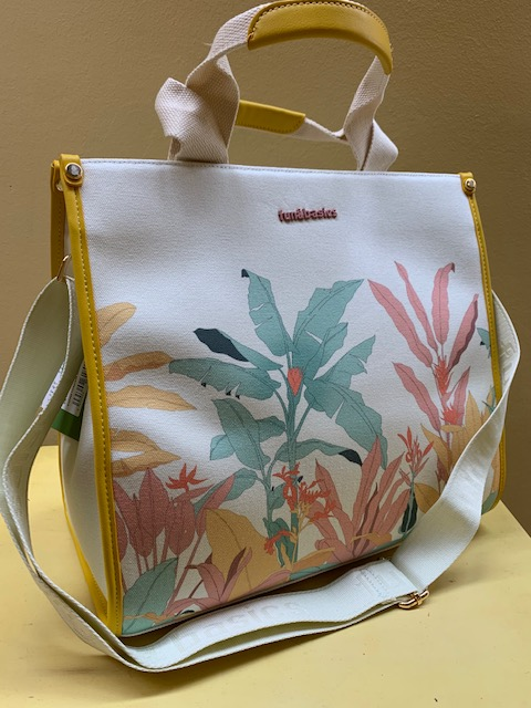 Bolso shopping tejido canvas vegetal Fun&Basic. Vista lateral