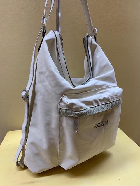 Bolso y mochila tejido denim plastificado de Kcb. Hielo, vista lateral