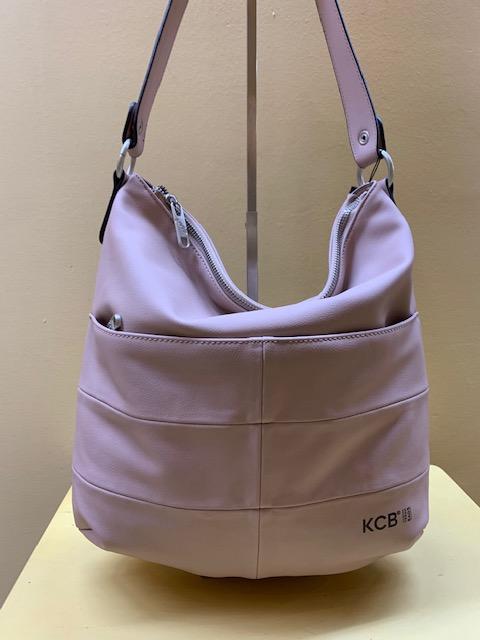 Bolso góndola rectángulos piel sintética de Kcb. Frontal rosa palo