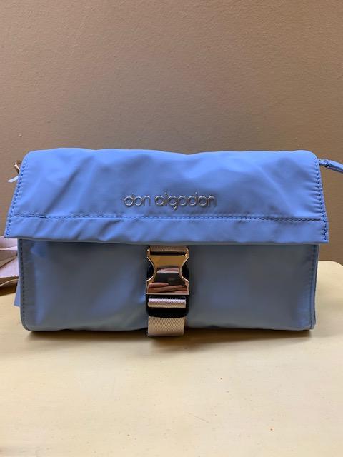 Bolso contenedor nylon con solapa Don Algodón. Azul celeste