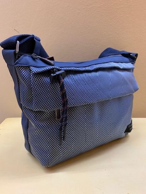Bolso ultraligero multibosillos nylon de Tiger. Azul, vista lateral