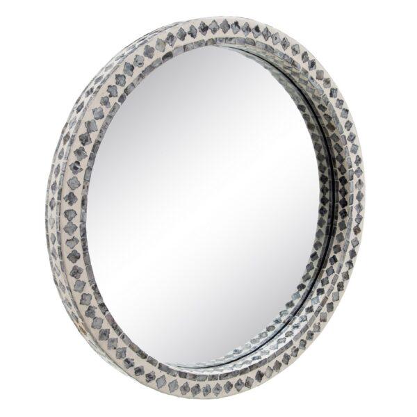 Espejo redondo con mosaico de nácar gris y blanco. Vista lateral