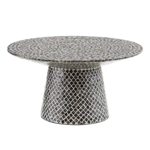 Mesa de centro con mosaico de nácar en gris y blanco. Vista lateral