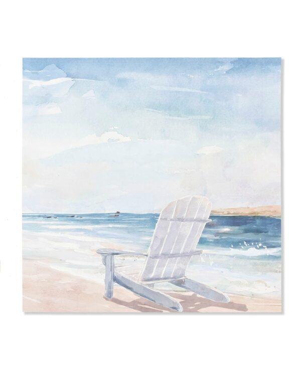 Impresión y pintura sobre lienzo marinero con hamaca. Izquierda