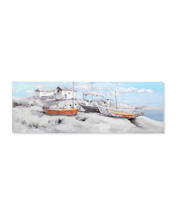 Impresión y pintura sobre lienzo marinero con barcas. Dos barcas naranjas