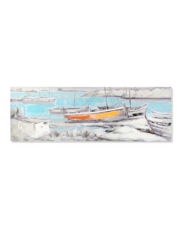 Impresión y pintura sobre lienzo marinero con barcas. Una barca naranja
