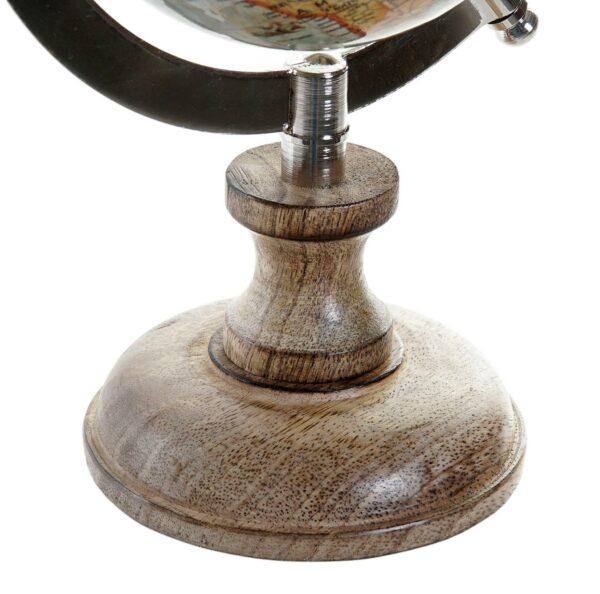 Globo terráqueo pequeño con mango y aluminio. Vista del pie de madera