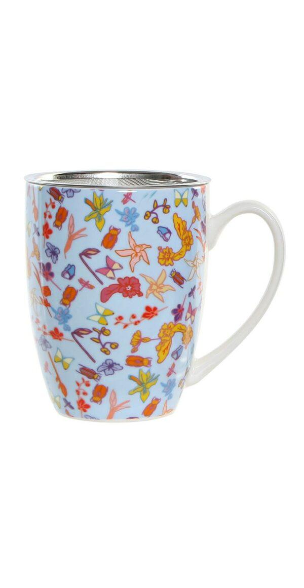 Mug de porcelana multicolor con filtro y tapa para infusiones. Azul