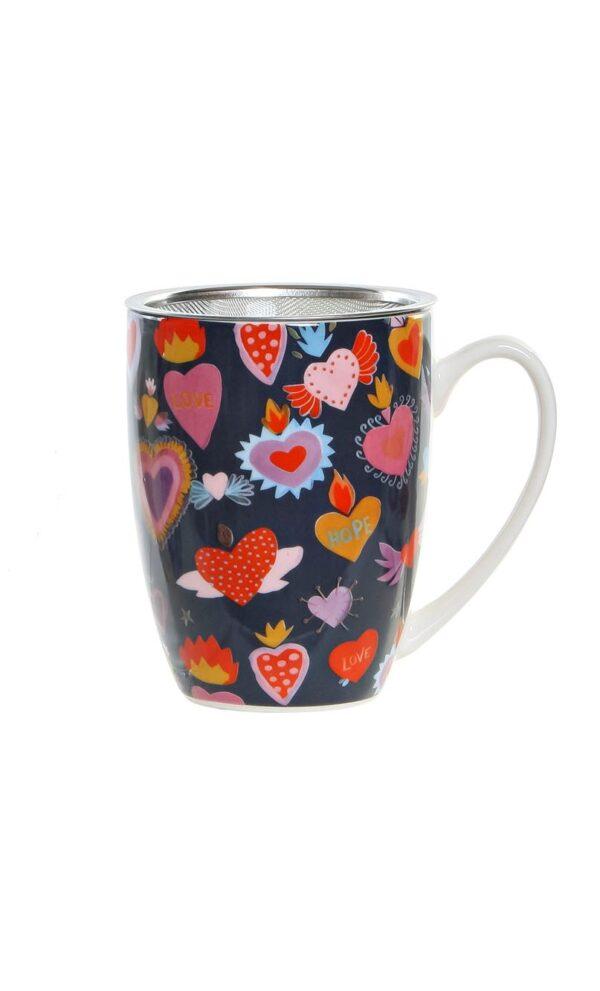 Mug de porcelana multicolor con filtro y tapa para infusiones. Negro