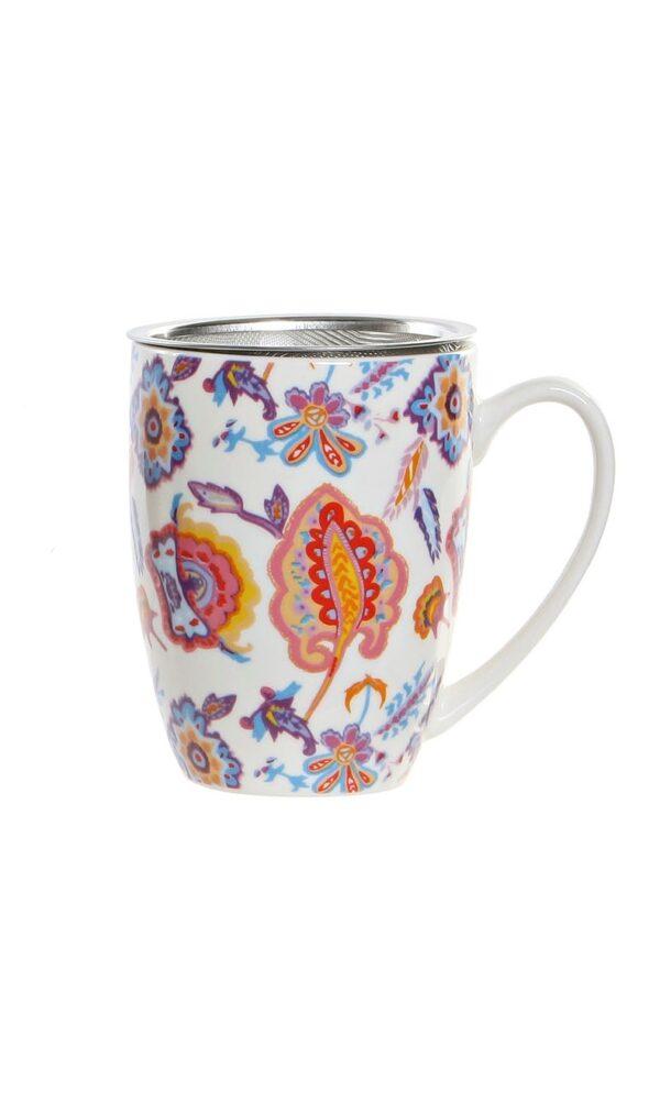 Mug de porcelana multicolor con filtro y tapa para infusiones. Blanco