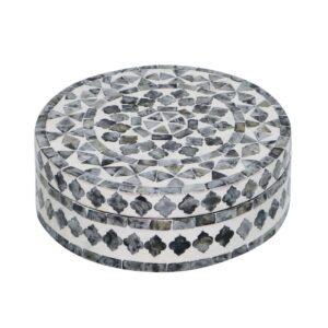 Caja redonda con mosaico de nácar en gris y blanco