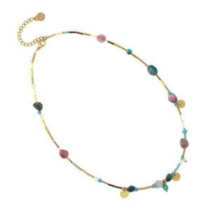 Gargantilla de acero cristal y piedra natural multicolor Anartxy