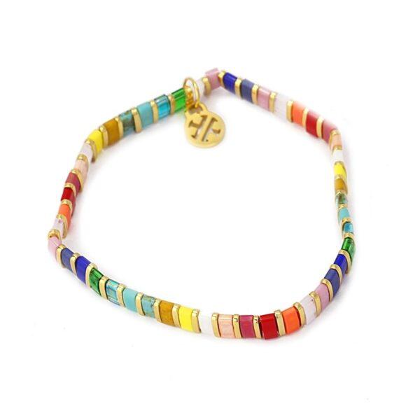 Pulsera con miyuki de colores y acero bañado de Anartxy. Multicolor