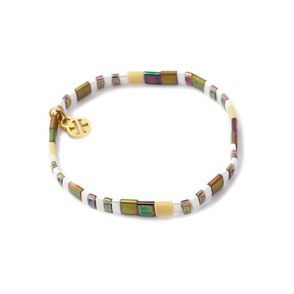 Pulsera con miyuki de colores y acero bañado de Anartxy. Blanco, beige dorado