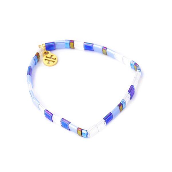 Pulsera con miyuki de colores y acero bañado de Anartxy. Azul y blanco