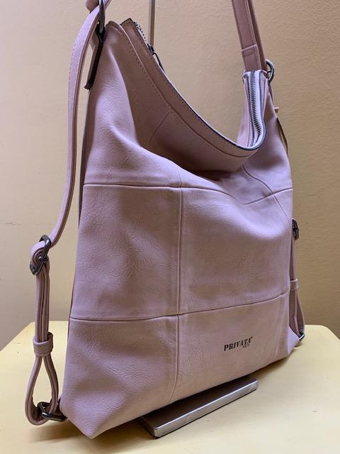 Bolso y mochila con frontal cuadros de Privata. Ros palo, vista lateral