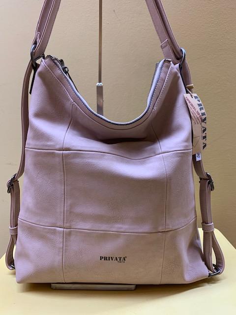 Bolso y mochila con frontal cuadros de Privata. Frontal del rosa palo