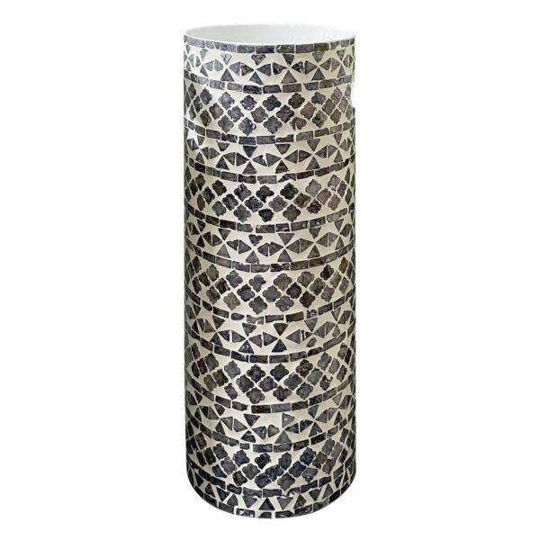 Paragüero con mosaico de nácar gris y blanco