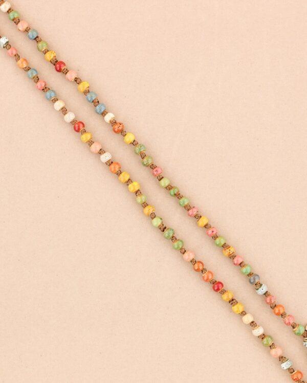 Collar largo con bolas de cerámica multicolor