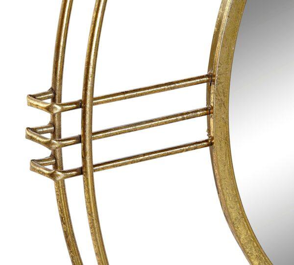 Espejo redondo con marco metálico circular doble. Vista parcial