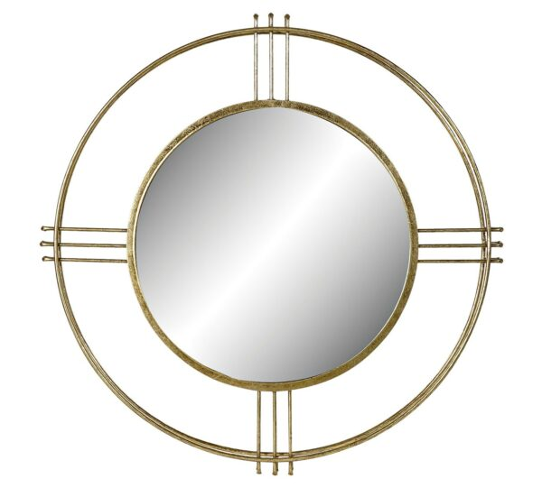 Espejo redondo con marco metálico circular doble