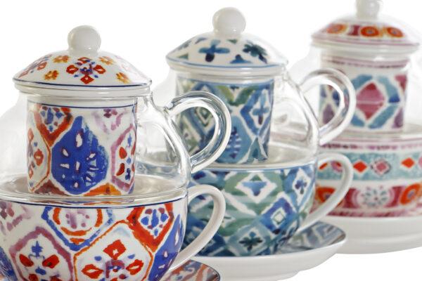 Conjunto de tetera de cristal con piezas de cerámica. Vista de las tres combinaciones