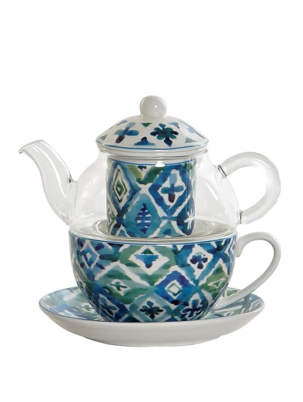 Conjunto de tetera de cristal con piezas de cerámica. Rombo azul