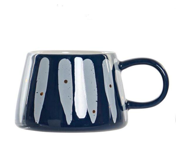 Mug de gres para 370cl en varias combinaciones. Rayas azul
