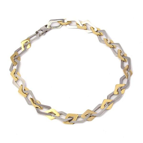 Gargantilla acero eslabones irregulares de Anartxy. Plata-oro