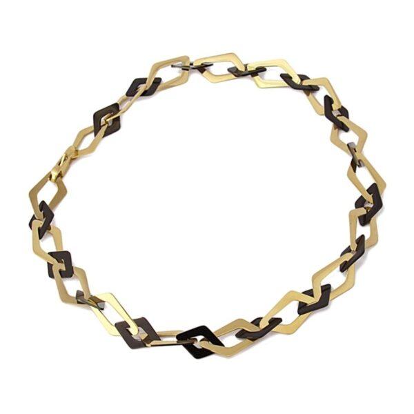 Gargantilla acero eslabones irregulares de Anartxy. Oro-negro