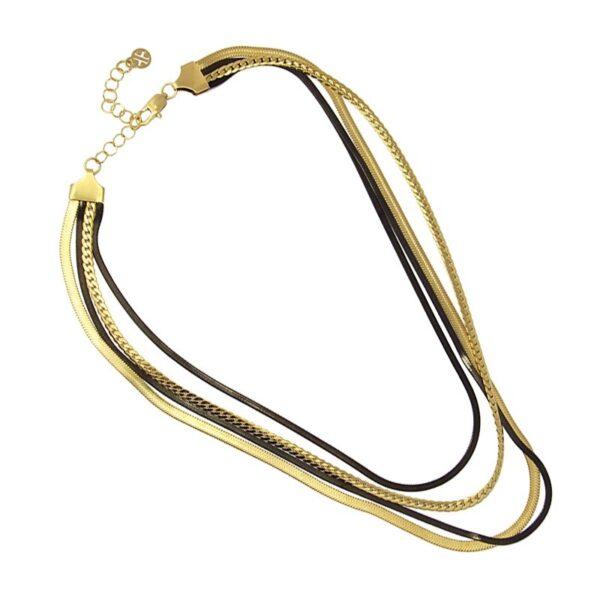 Gargantilla cuatro vueltas snake de acero bicolor Anartxy