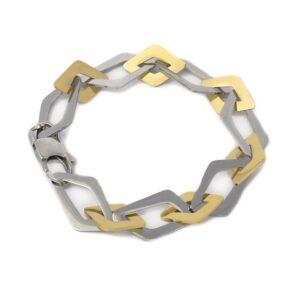 Pulsera acero eslabones irregulares de Anartxy. Plata-oro