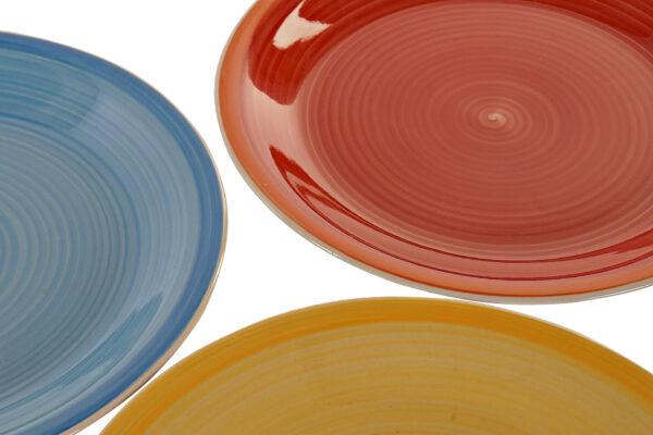 Vajilla de 18 platos, 6 servicios, en gres multicolor. Vista parcial platos llanos