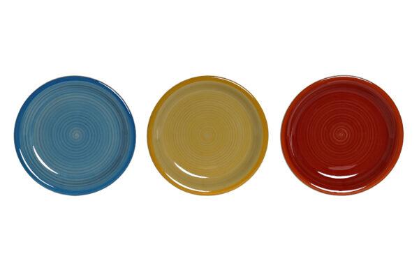 Vajilla de 18 platos, 6 servicios, en gres multicolor. Vista de los platos de postre