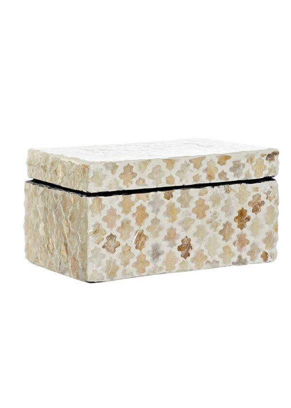 Caja con mosaico de nácar en tonos beige y marrón. Tamaño pequeño