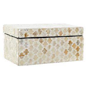 Caja con mosaico de nácar en tonos beige y marrón. Tamaño grande