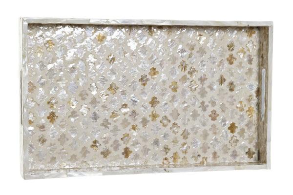 Bandeja con mosaico de nácar en beige y marrón. Vista desde arriba