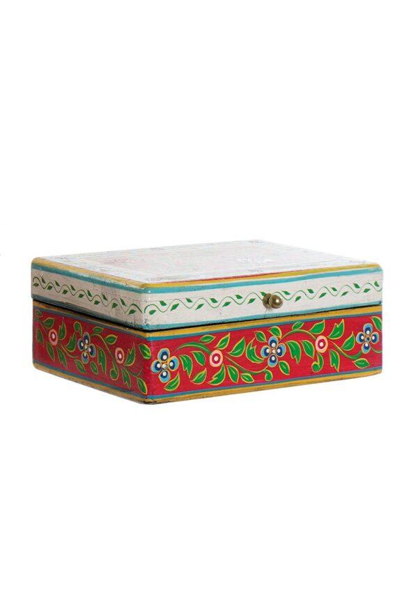 Caja baúl de madera mango pintada a mano en India. Tamaño pequeño
