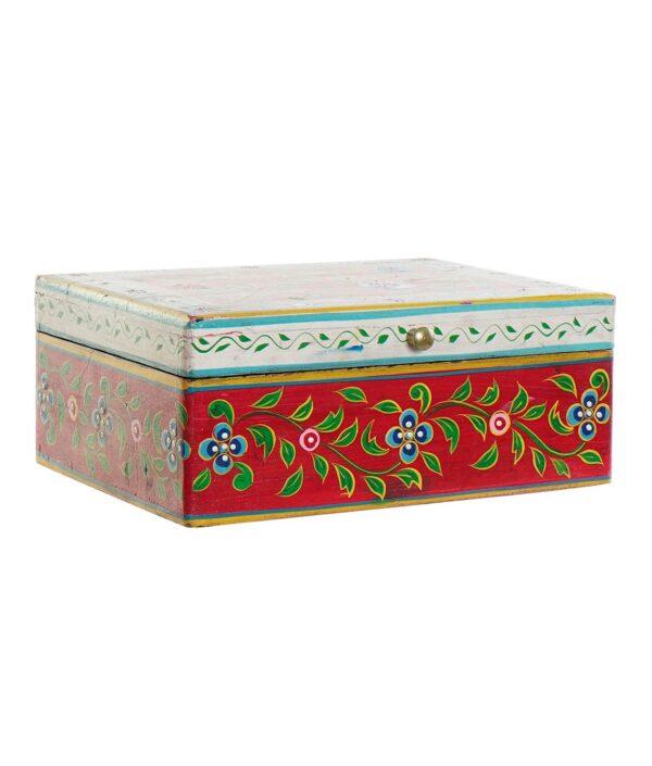 Caja baúl de madera mango pintada a mano en India. Grande