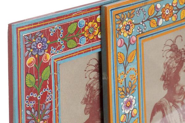 Marco para foto 10x15 floral pintado a mano en India. Vista de los dos colores posibles