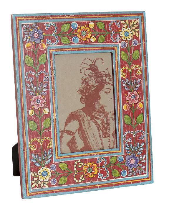 Marco para foto 10x15 floral pintado a mano en India. Rojo